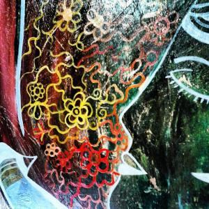 On Skin (óleo/acrílica/spray sobre placa de madeira 110x49cm by Lu Valença)